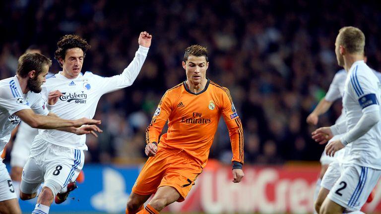 Thomas Delaney of FC Copenhagen and Cristiano Ronaldo of Real Madrid vie for the ball