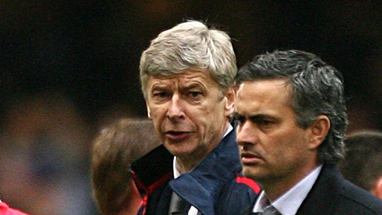 Arsenal boss Arsene Wenger and Chelsea Manager Jose Mourinho. 2007.