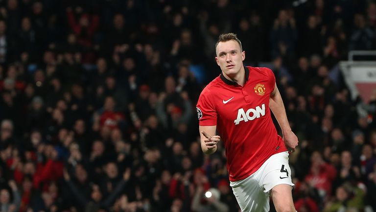 Phil Jones celebrates after scoring for Manchester United against Shakhtar Donetsk in the UEFA Champions League at Old Trafford