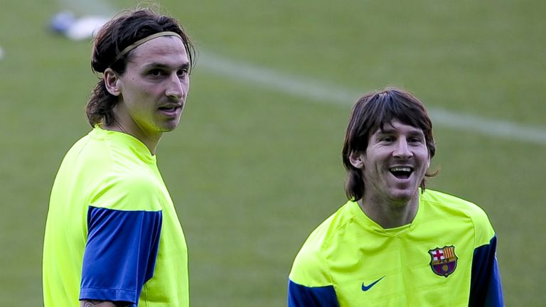 Zlatan Ibrahimovic (l) is hoping to be reunited with former Barcelona team-mate Lionel Messi (r) at PSG