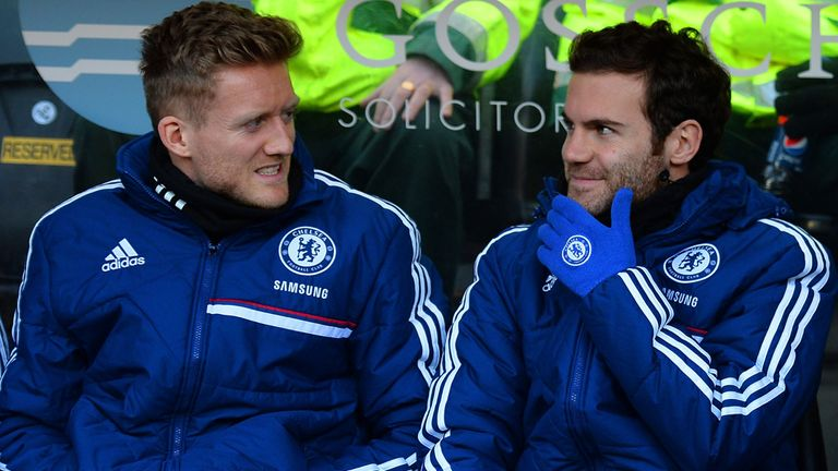 Mata (right) made 13 Premier League appearances during the 2013/14 season before he was sold