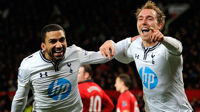 Christian Eriksen (R) celebrates during the English Premier League football match between Manchester United and Tottenham Hotspur