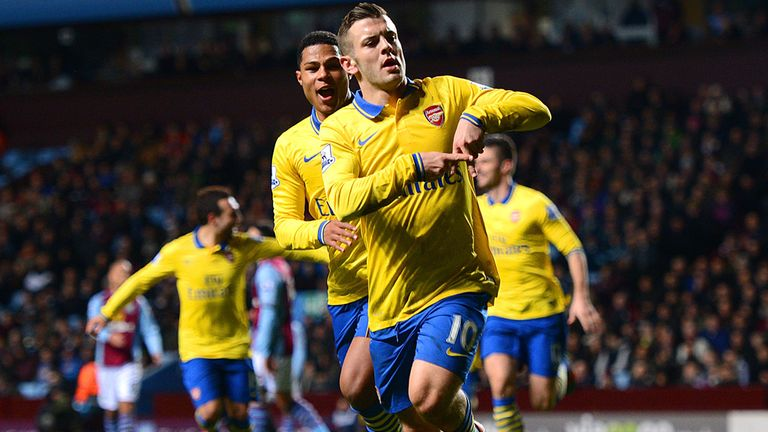 BIRMINGHAM, ENGLAND - JANUARY 13:  Jack Wilshere of Arsenal ceelbrates scoring the opening goal with Serge Gnabry