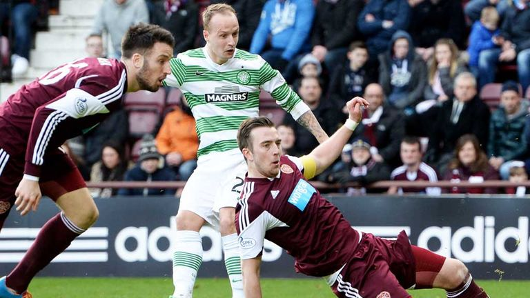 Leigh Griffiths: Celtic striker scores his first goal for the team against Hearts