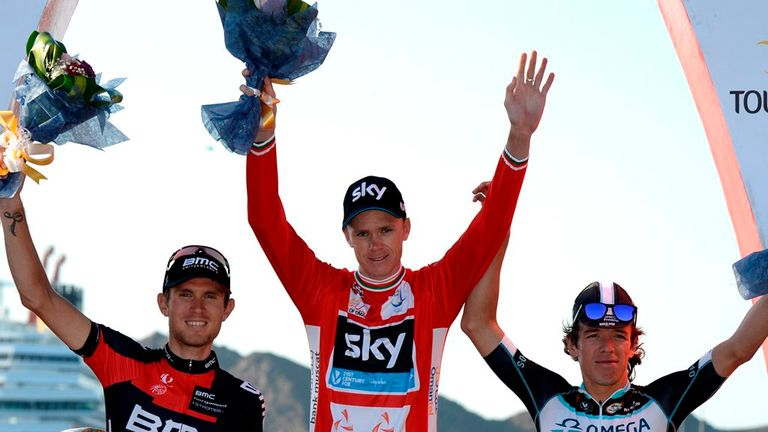 Chris Froome claimed victory ahead of Tejay van Garderen, left, and Rigoberto Uran, right