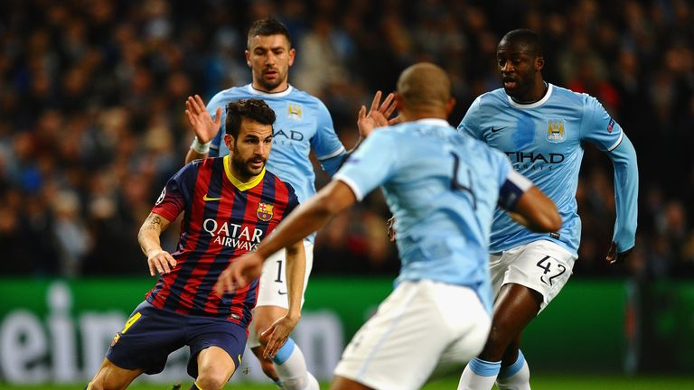 Cesc Fabregas of Barcelona in action against Manchester City