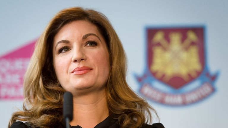 West Ham United Vice Chairman Karren Brady listens to a question during a press conference in east London to announce the new deal between Newham council a