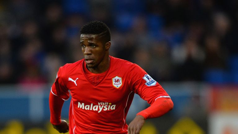 Wilfried Zaha of Cardiff City in action during the Premier League match against Norwich City