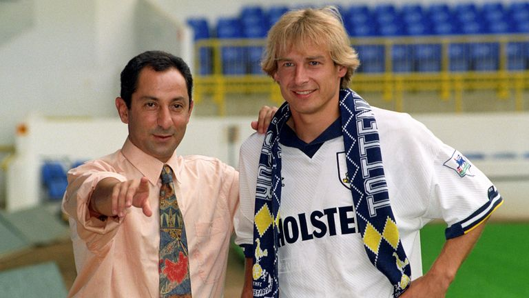 One of the original great Premier League imports, JURGEN KLINSMANN spent just 1 year each at SPURS in 2 spells, but became a cult icon with 38 goals in 65.
