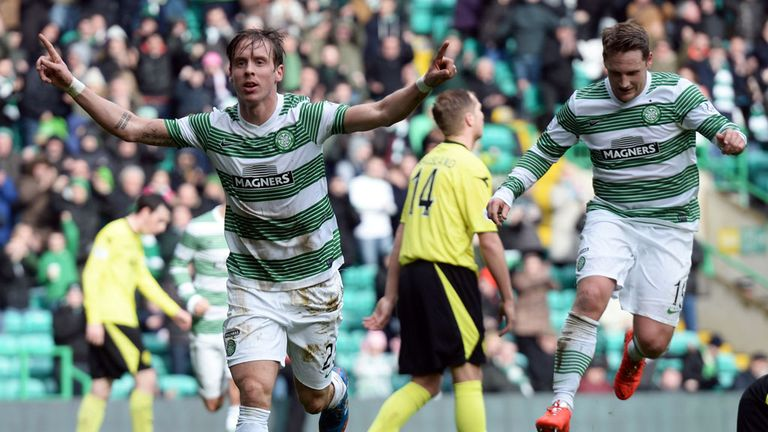 Stefan Johansen celebrates the first goal at Celtic Park
