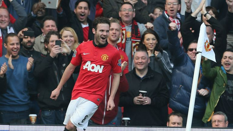 - Juan Mata of Manchester United celebrates scoring their third goal during the Premier League match between Manchester United and Aston Villa