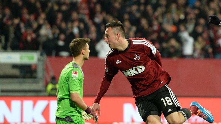 Josip Drmic (R) of Nuernberg celebrates after scoring his team's second goal