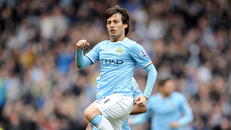 David Silva of Manchester City celebrates after he scores the first goal of the game for his side during the Barclays Premier Le