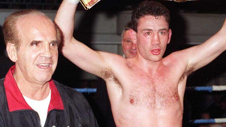 Mickey Duff with Robert McCracken in 1996