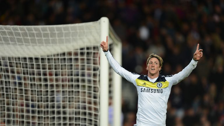 Chelsea's Spanish forward Fernando Torres celebrates after scoring during the UEFA Champions League second leg semi-final football match Barcelona against