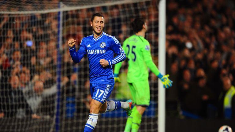 Eden Hazard of Chelsea celebrates after scoring from the penalty spot against Tottenham