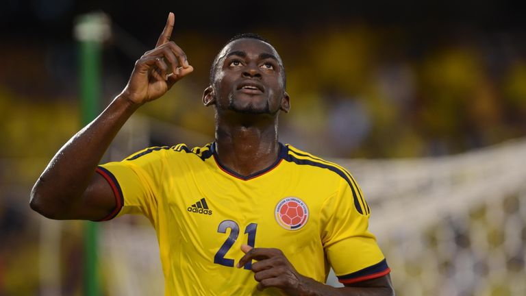 Colombia's player Jackson Martinez celebrates after scoring against Cameroon during a friendly football match