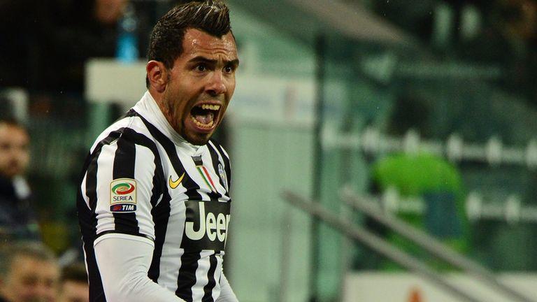 Juventus' Argentinian foward Carlos Tevez celebrates after scoring during the Italian Serie A football match Juventus vs Parma