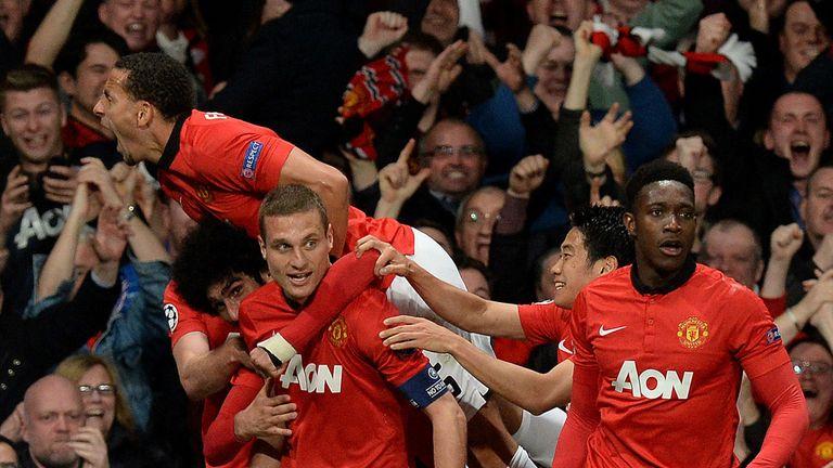 Nemanja Vidic celebrates his goal against Bayern Munich