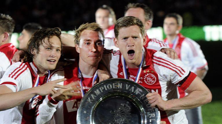 Ajax Amsterdam players Daley Blind (L), Christian Eriksen (C) and Jan Vertonghen (R) in 2012