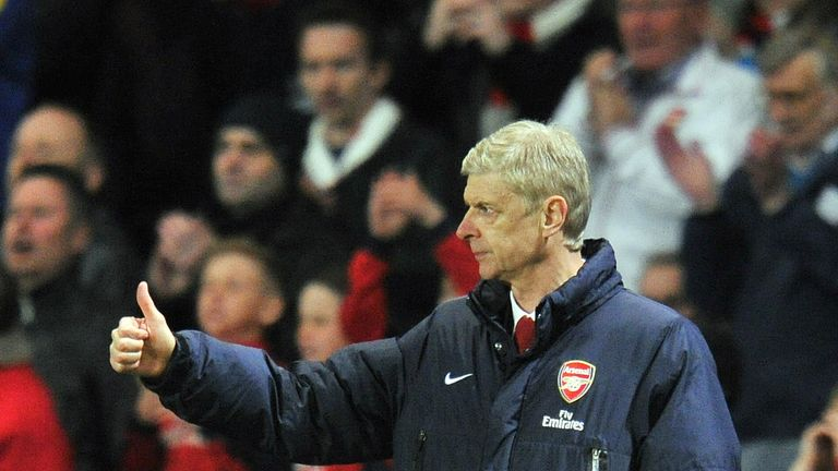 Arsenal's French manager Arsene Wenger gestures during the English Premier League football match between Arsenal and West Ham United at the Emirates Stadiu