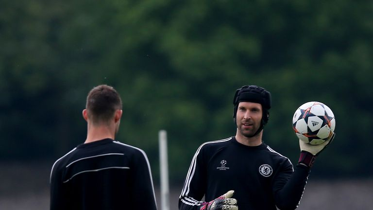 COBHAM, ENGLAND - APRIL 29: Petr Cech of Chelsea participates in a training session at Chelsea Training Ground on April 29, 2014 in Cobham, England.