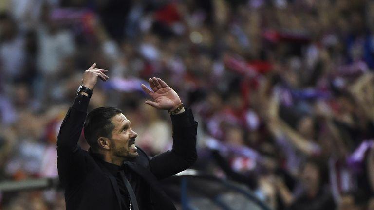 Atletico Madrid's Argentinian coach Diego Simeone reacts during the UEFA Champions League quarter final football match Club Atletico de Madrid vs Barcelona