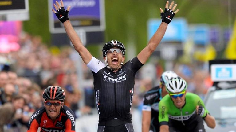 Fabian Cancellara beat Greg van Avermaet, left, into second and Sep Vanmarcke, right, into third