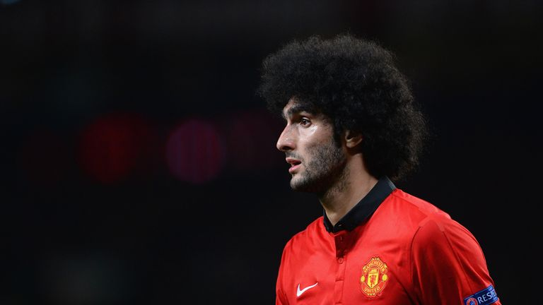 Marouane Fellaini playing for Manchester United in the UEFA Champions League