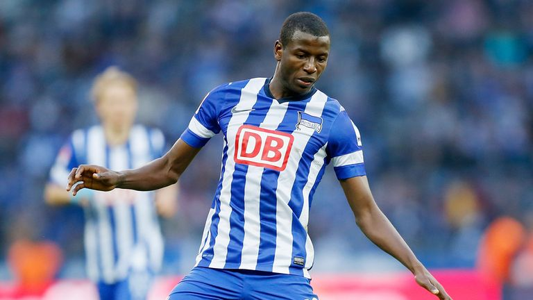 BERLIN, GERMANY - APRIL 06: Adrian Ramos of Berlin runs with the ball during the Bundesliga match between Hertha BSC and 1899 Hoffenheim