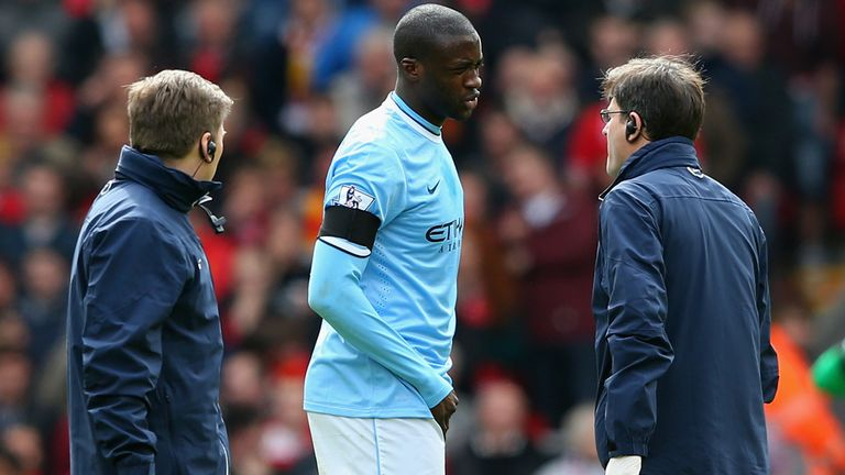 LIVERPOOL, ENGLAND - APRIL 13:  Yaya Toure of Manchester City goes off injured during the Barclays Premier League match between Liverpool and Manchester Ci