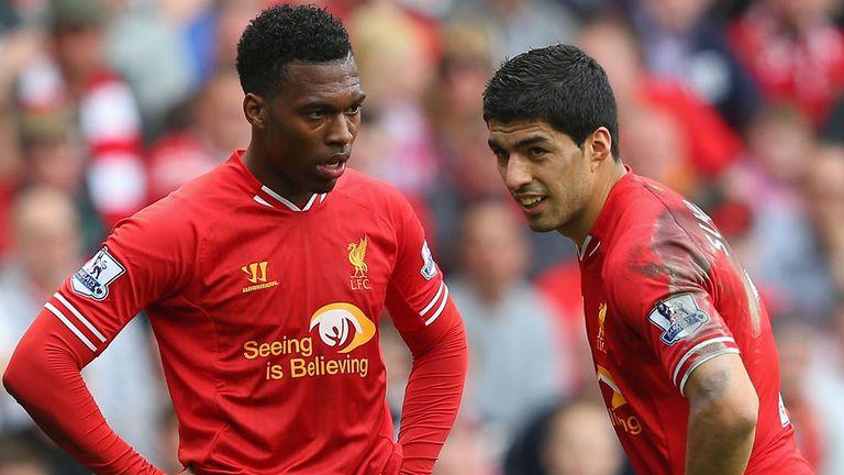 Luis Suarez and Daniel Sturridge of Liverpool
