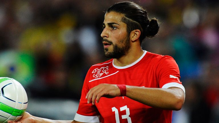 Ricardo Rodriguez of Switzerland holds a ball during the international friendly match between Switzerland and Brazil
