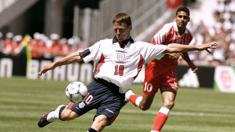 15 Jun 1998:  Teddy Sheringham of England shoots during the World Cup group G game against Tunisia at the Stade Velodrome in Marseille, France. England won