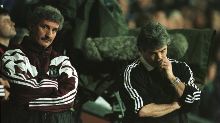 Terry McDermott and Kevin Keegan of Newcastle look on after Blackburn's winning goal during a loss to Blackburn