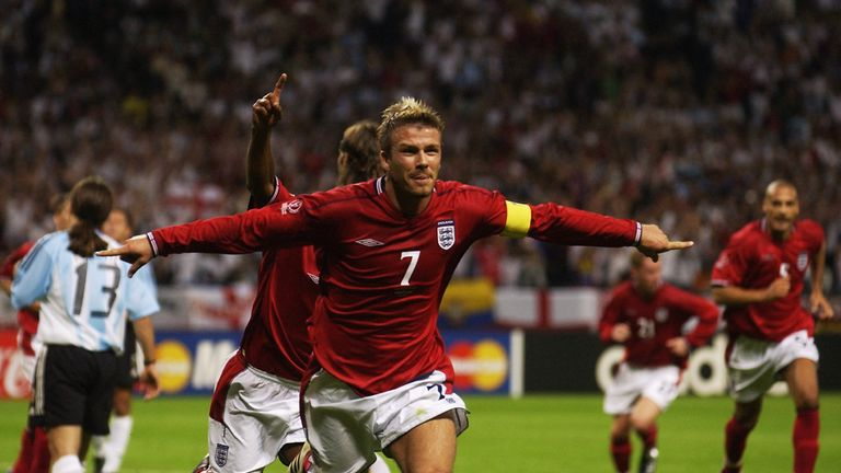 SAPPORO - JUNE 7:  David Beckham Captain of England celebrates scoring during the  Group F against Argentina at the World Cup Group Stage played at the Sap