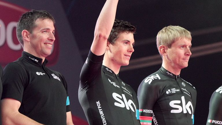 Ben Swift, centre, at the Giro d'Italia team presentation in Belfast on Thursday
