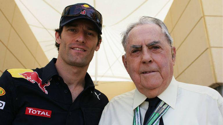 Mark Webber with Jack Brabham in 2010