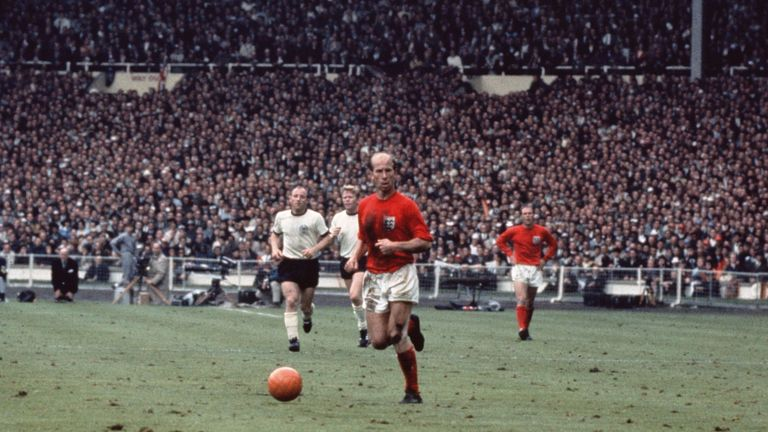 30th July 1966:  Bobby Charlton with the ball during the 1966 World Cup Final against West Germany at Wembley Stadium. England won 4-2.  (Photo by Fox Phot