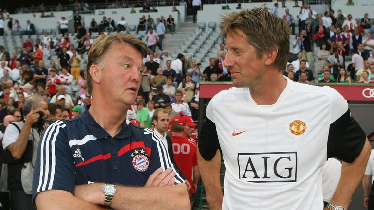 Louis van Gaal (left) has received backing from compatriot Edwin van der Sar