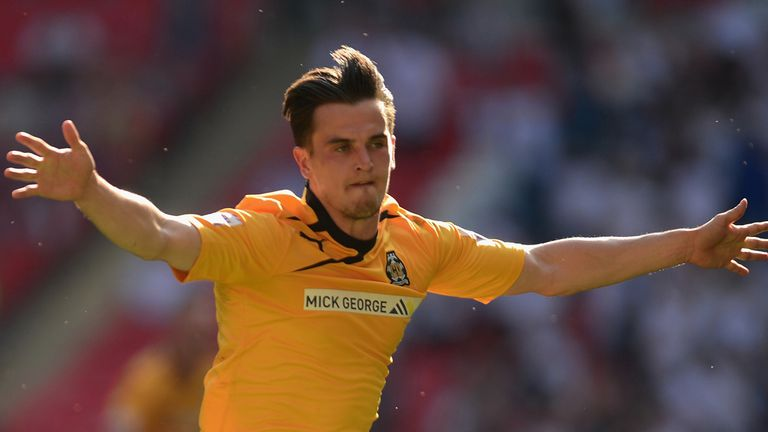 LONDON, ENGLAND - MAY 18:  Ryan Donaldson of Cambridge United celebrates his goal during the Skrill Conference Premier Play-Offs Final between Cambridge Un
