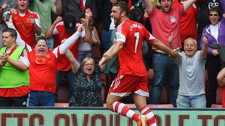 Rickie Lambert of Southampton celebrates after scoring