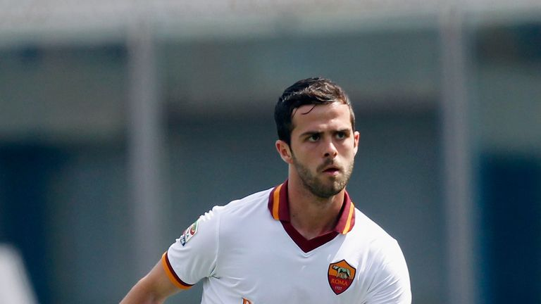 Miralem Pjanic of Roma during the Serie A match between Calcio Catania and AS Roma at Stadio Angelo Massimino on May 4, 2014 in Ca