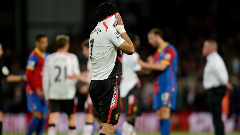 Luis Suarez is dejected after Liverpool's 3-3 draw at Crystal Palace