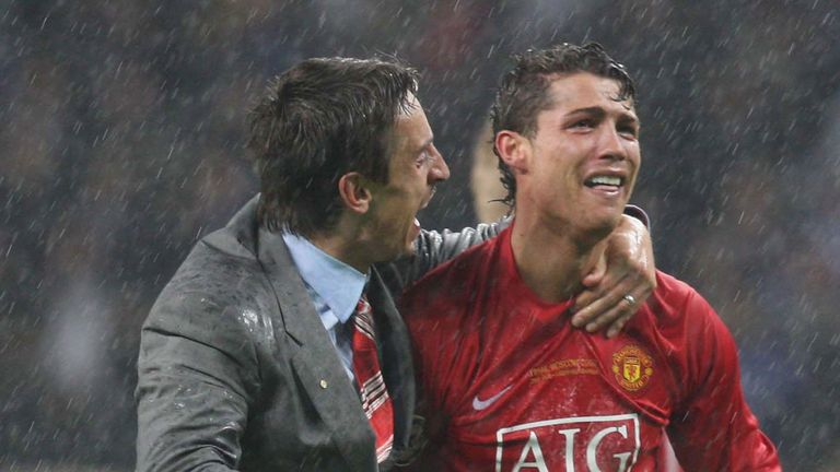 Gary Neville and Cristiano Ronaldo of Manchester United celebrate after winning the UEFA Champions League Final