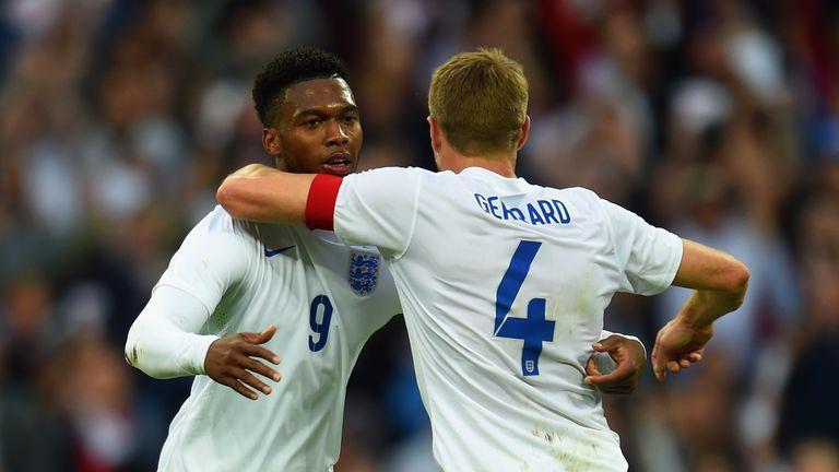LONDON, ENGLAND - MAY 30:  Steven Gerrard of England congratulates Daniel Sturridge of England on scoring the opening goal during the international friendl