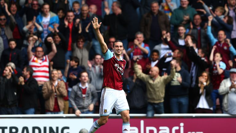 LONDON, ENGLAND - MAY 03:  Andy Carroll of West Ham celebrates after his team take a 1-0  lead following an own goal by Harry Kane of Spurs during the Barc