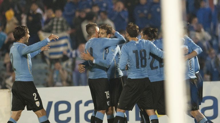 Uruguay's playes celebrate after scoring against Northern Ireland's during their friendly football match at Centenario Stadium  in Montevideo