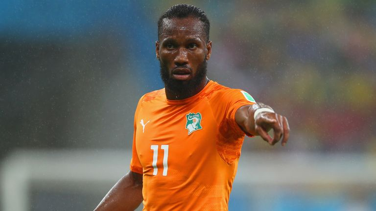 Didier Drogba of the Ivory Coast reacts during the 2014 FIFA World Cup Brazil Group C match  between the Ivory Coast and Japan n