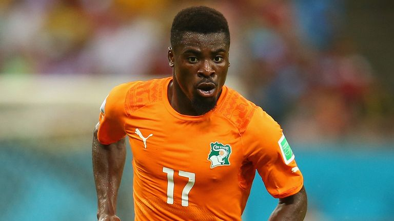 Serge Aurier of the Ivory Coast during the 2014 FIFA World Cup Brazil Group C match  between the Ivory Coast and Japan